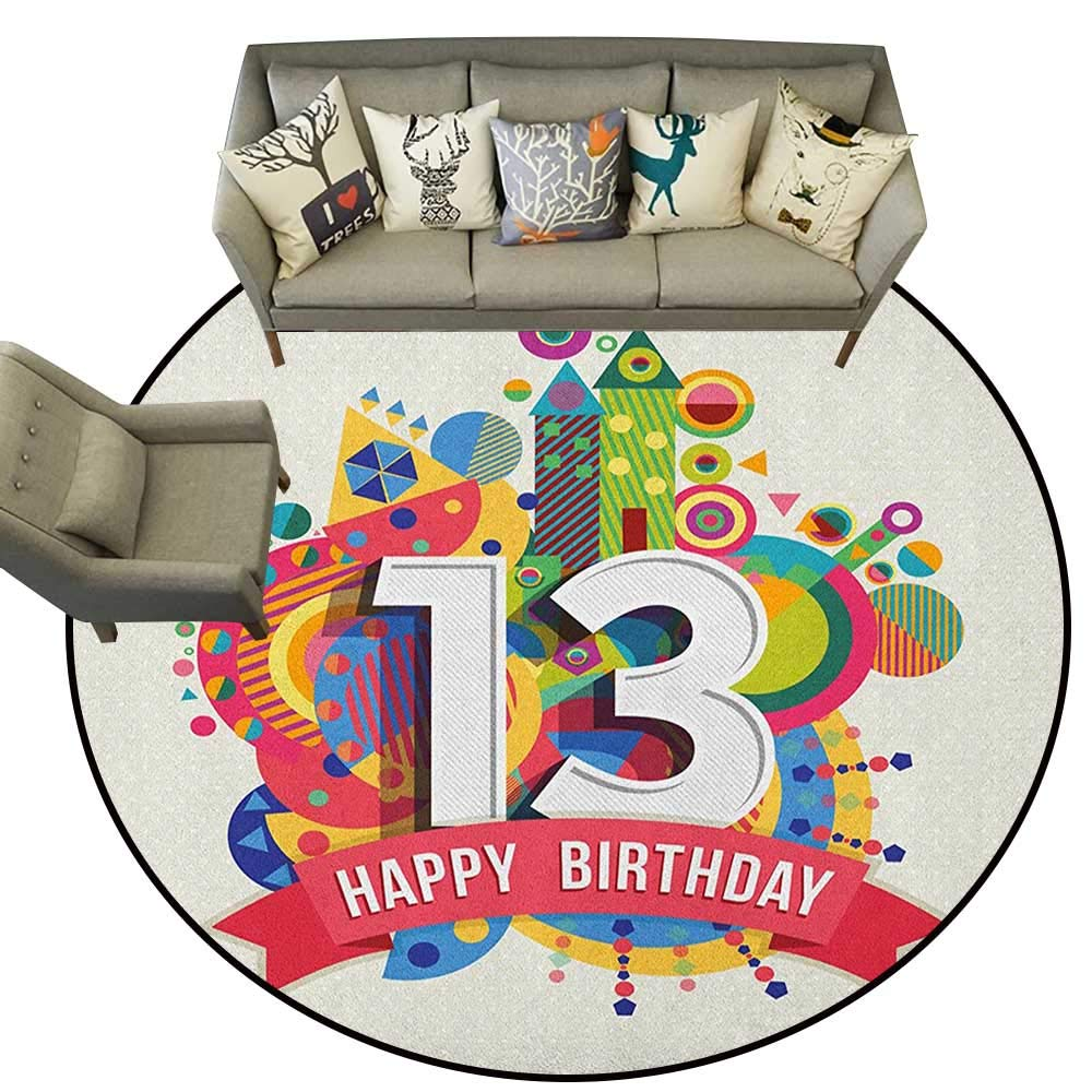 Style02 Diameter 40(inch& xFF09; 13th Birthday,Personalized Floor mats Joyful Surprise Event Teen Celebration Party with Balloons Ribbons Stars D54 Floor Mat Entrance Doormat
