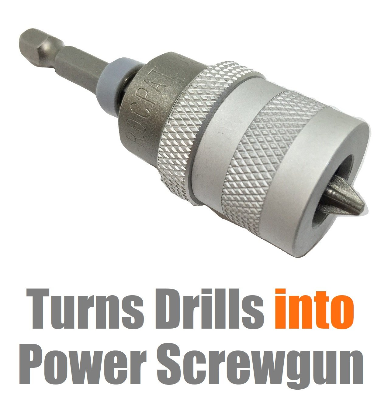 Electric Drill to Screw Gun CONVERTER Countersink Counterbore into Drywall Plywood Screwdriver Bit Depth Setter Phillips No 2 Bit Screw Clutch Shank 1/4 Precise Fit For Power and Hand Drills Tool