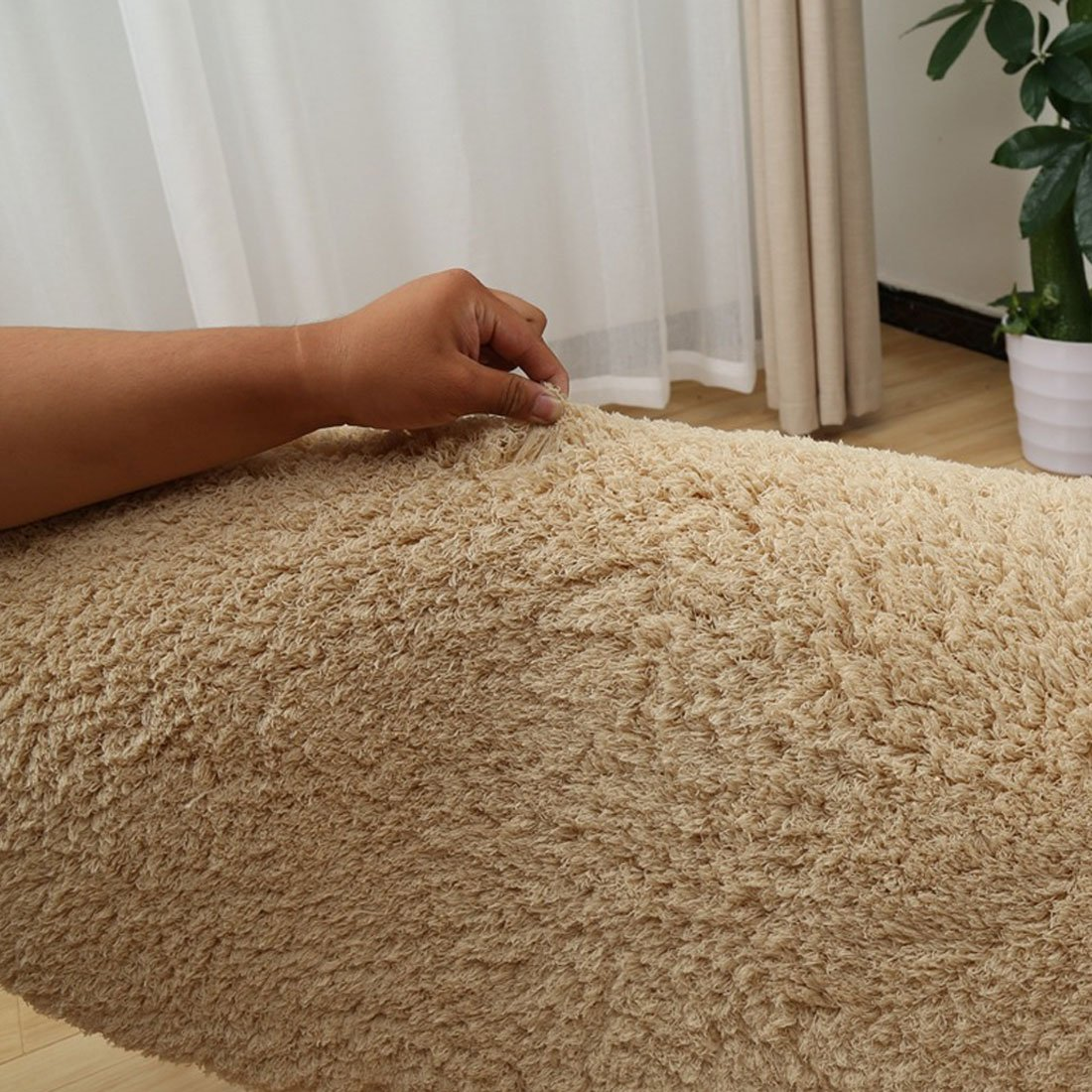 Velour Long Ultra Suave Redonda Alfombra Lavable de sal/ón Dormitorio, Velur, Beige, 80 cm /Alfombra Redonda Levoberg/