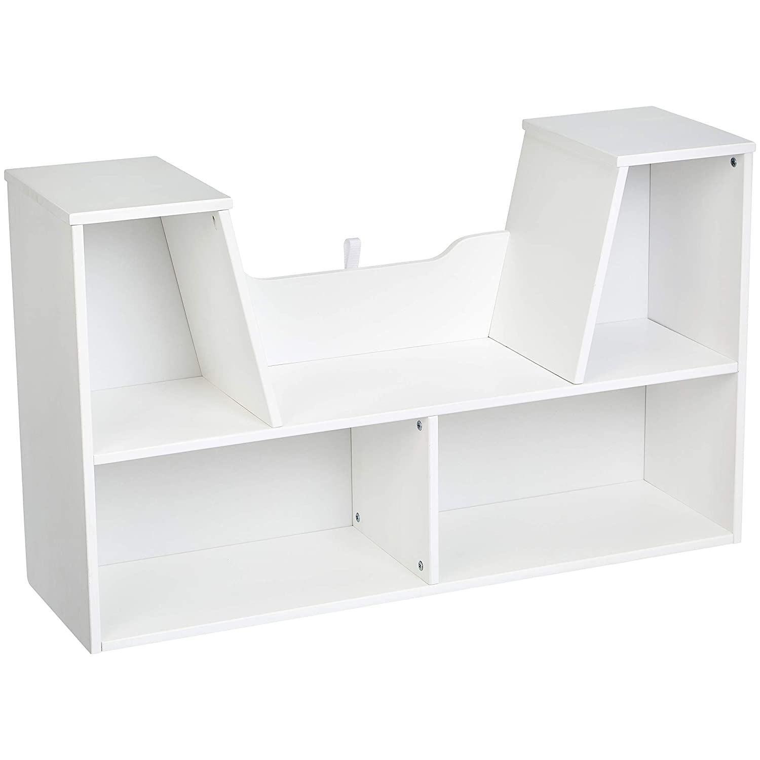 AmazonBasics Kids Bookcase with Reading Nook and Storage Shelves, White