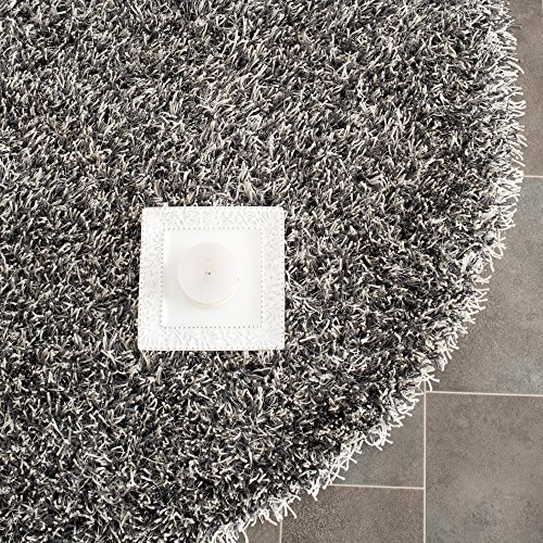 Safavieh New Orleans Shag Collection SG531-7612 Platinum and Ivory Polyester Round Area Rug (5