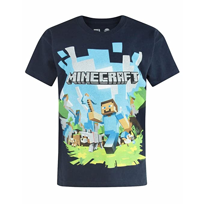Minecraft - Camiseta de manga corta oficial modelo Minecraft Adventure para niños (Años (11-12)/Azul marino): Amazon.es: Ropa y accesorios