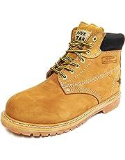 "G6A33S Men's Nubuck Leather Tan 6"" Lug Sole Slip Resisant Work Boots Width: Wide (W 2E)"