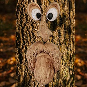 Keenface Tree Faces Decor Outdoor, Funny Resin Old Man Tree Art Decorations for Outside Garden Patio Whimsical Sculpture Statues Creative Props (Style 9)