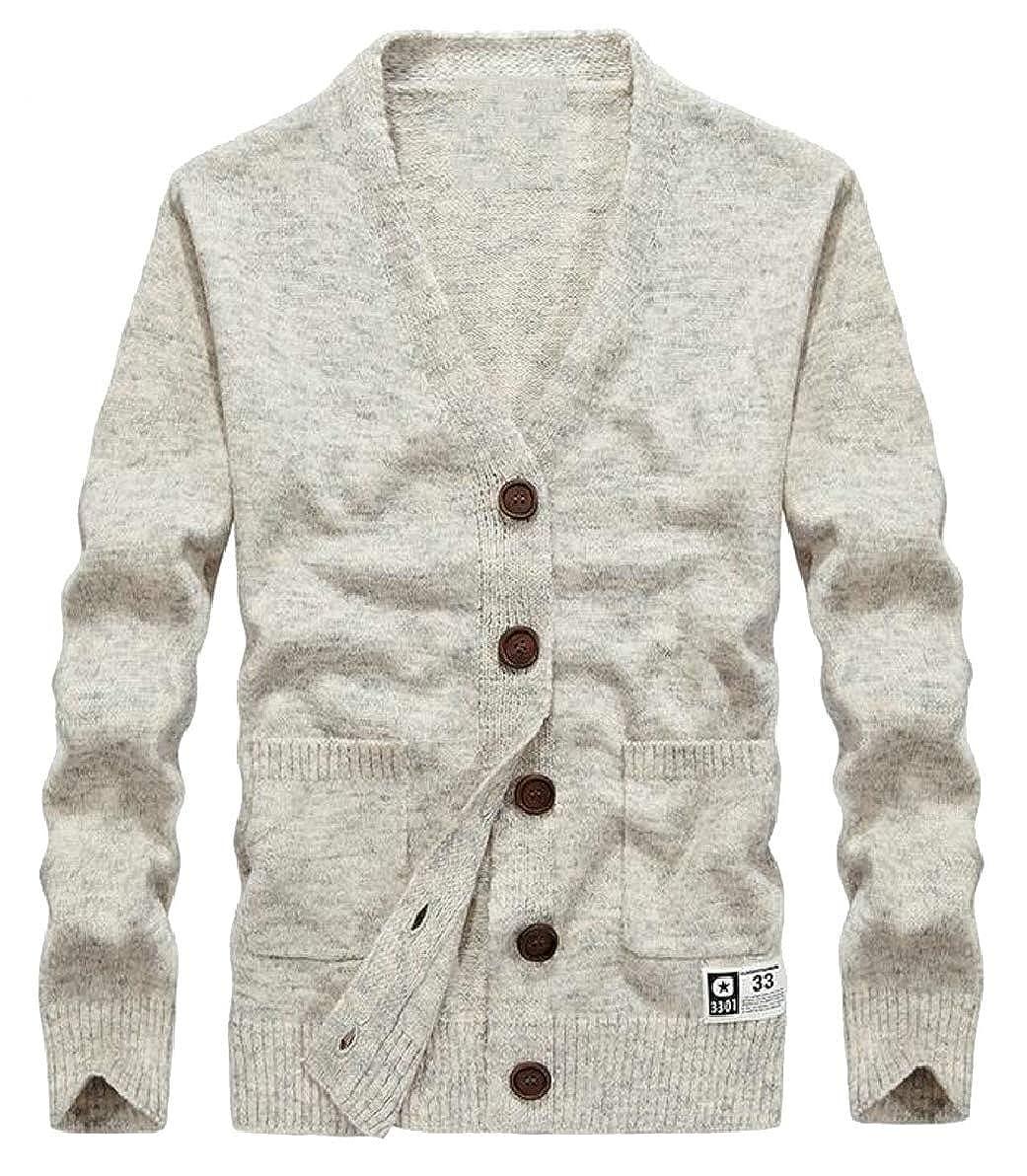 ONTBYB Mens Slim V Neck Button Up Pocket Long Sleeve Cardigan Sweater