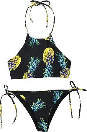CUPSHE Women's Pineapple Print Bikini Set Sexy Thong Triangle Brazilian Swimwear