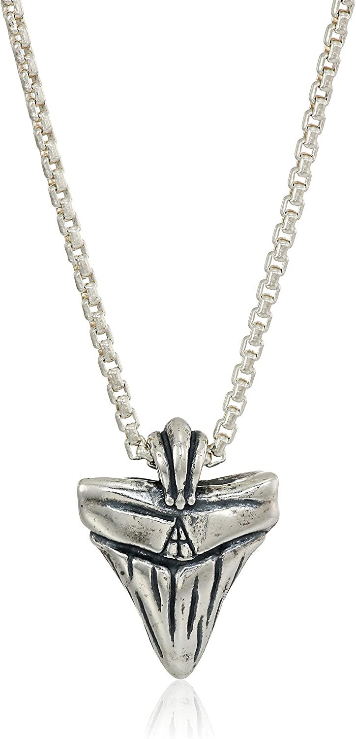 Alex and Ani Men's Shark Tooth 32-Inch Pendant Necklace, Sterling Silver, Expandable