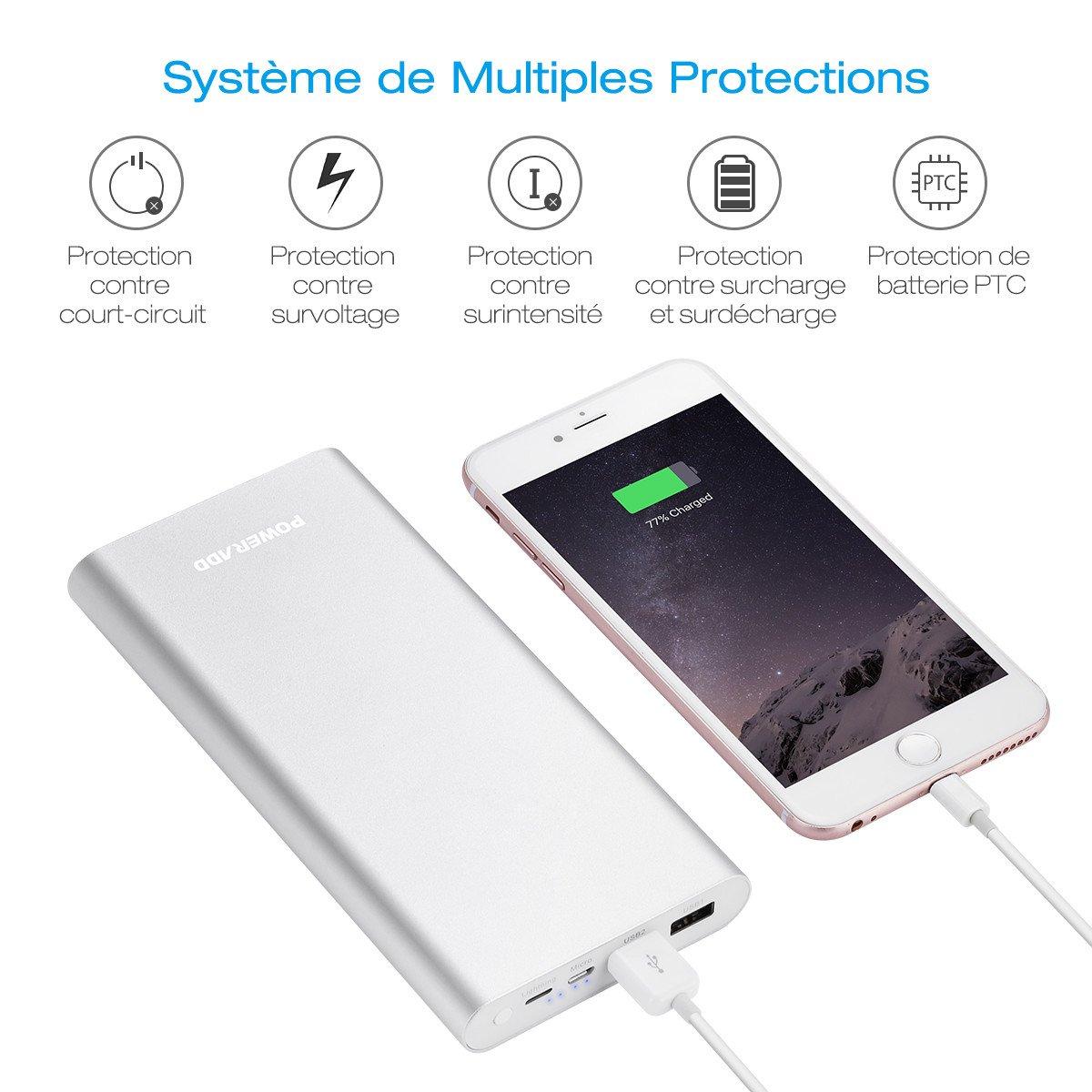 POWERADD Pilot 4GS Plus Batterie pour iPhone 20000mAh Grande Capacité Livré avec Câble Lightning et Câble Micro USB Charge Rapide pour iPhone, iPad, Samsung, Huawei et d'Autres Smartphones - Argent