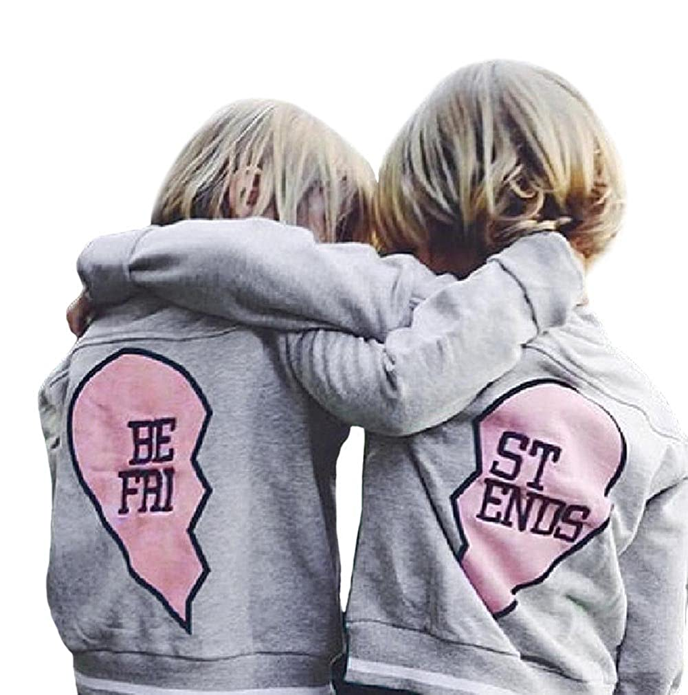 ef98bf6ca UNIQUE CHIC DESIGN - Letter print in one heart, Long sleeve, Buttons. ♥  BEST FRIEND OUTFIT - Buy 2 style of the jackets, the letter will be BEST  FRIEND.