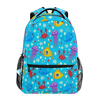 ef439b409faf8 Amazon.com : Underwater Life Colorful Backpack Waterproof School Shoulder  Bag Gym Backpack, Dolphin Crab Laptop Bag Outdoor Travel Bag Boys Girls  Women Men ...