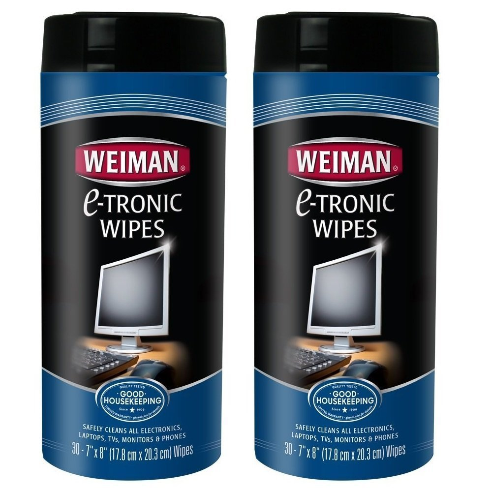 Weiman E-Tronic Cleaner Wipes - Safely Clean Your Laptop, Computer, TV, Screen and All Electronic Equipment - Electronic Wipes - 30 Count (2 Pack)