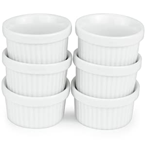 6 Pack of Mini Ramekins - 1 oz. / 30 ml Porcelain Souffle Dish, Dipping Sauce, Small Dessert Cups Set, Microwave & Oven Safe by Kÿchen