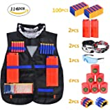 Tactical Vest Kit for Kids,Snap Clip for Nerf Guns N-Strike Elite Series with 114PCS Darts Bullets, 2 Reload Clips, 1Goggles, 2Mask, 2Pcs Wrist Band,6Target Cans, Perfect Toys Gift for Boys Games