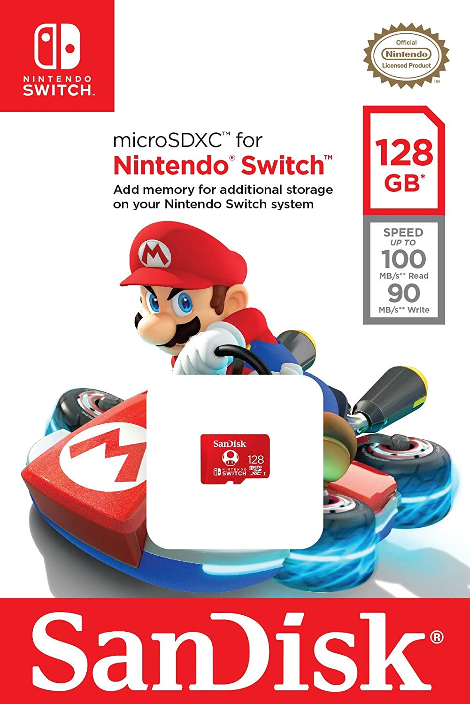 SanDisk 128GB MicroSDXC UHS-I Card for Nintendo Switch & BlueProton USB 3.0 MicroSDXC Card Reader