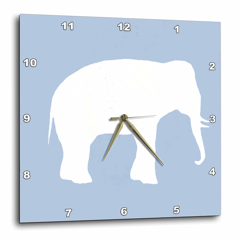 3dRose DPP/_164910/_3 Blue Elephant Silhouette White Wildlife Modern Pastel Wild Animal Wall Clock 15 by 15