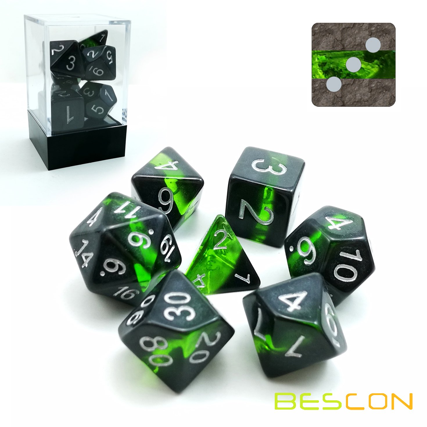 Bescon Mineral Rocks GEM VINES Polyhedral D&D Dice Set of 7, RPG Role Playing Game Dice 7pcs Set of EMERALD Bescon Dice BCD 17T02