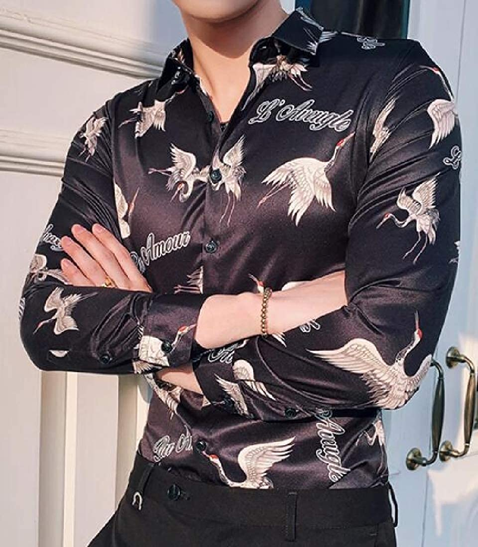 Suncolor8 Mens Floral Print Long Sleeve Red-Crowned Crane Regular Fit Turn Down Collar Button Down Dress Shirts