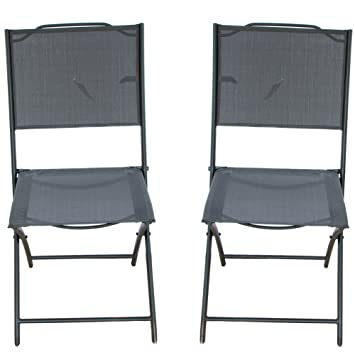 PatioPost Sling Outdoor Chair 2 Pack Textilene Mesh Fabric Iron Folding  Armless Chair, Black