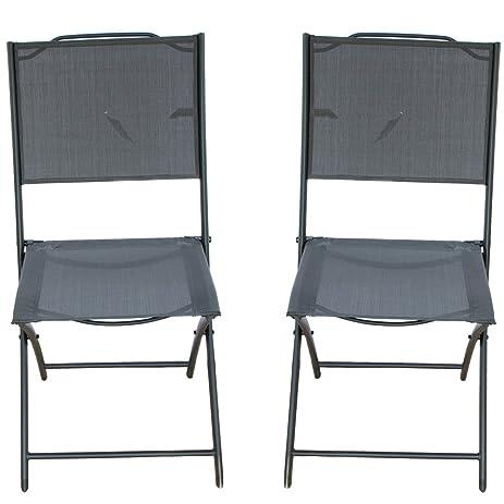 Attirant PatioPost Sling Outdoor Chair 2 Pack Textilene Mesh Fabric Iron Folding  Armless Chair, Black