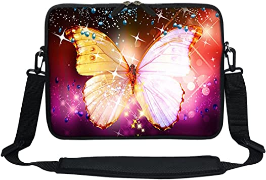 Colorful Butterfly Flowers Laptop Notebook Handle Sleeve Bag Case Cover for 11 MacBook Pro Twin Sides Printing