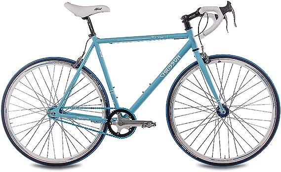 28 pulgadas Fixie CHRISSON FG Road 1.0 Bicicleta de carreras Fixed Gear Single Speed Light Azul Mate, tamaño medium, tamaño de rueda 28 inches: Amazon.es: Deportes y aire libre