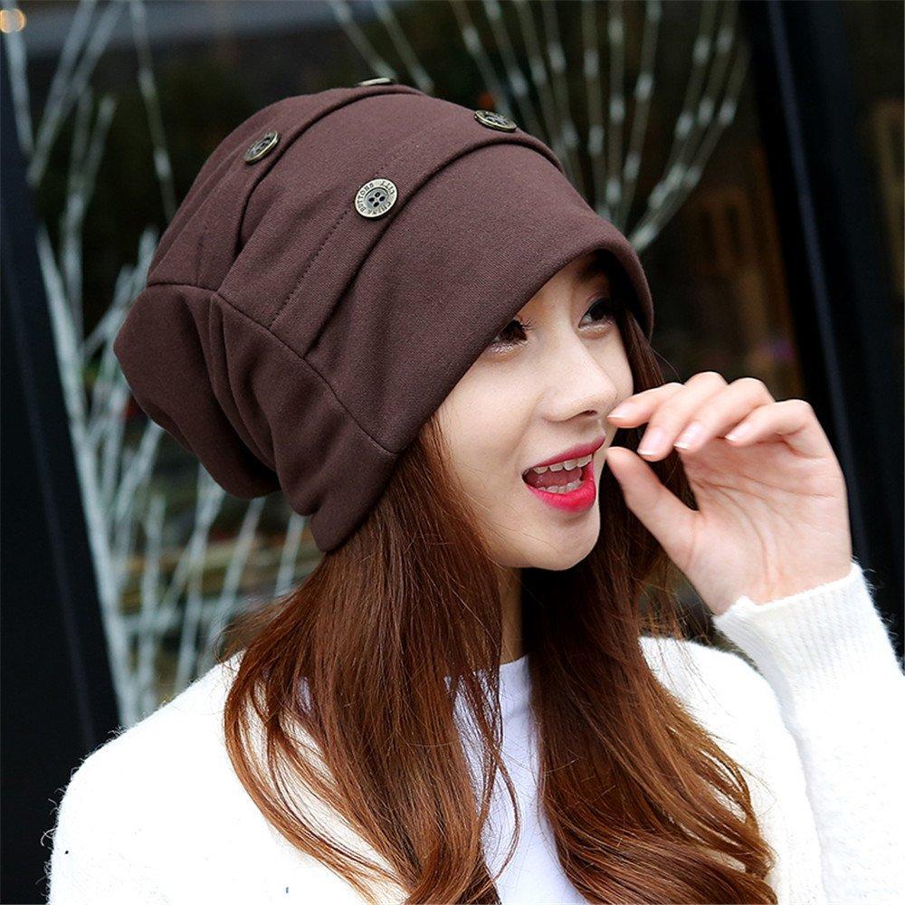 Baotou winter leisure hat bambini turbante hat moda doppio set di mesi caldi tappo cappuccio di pelo per circonferenza testa: 56cm-59cm,F,caffè