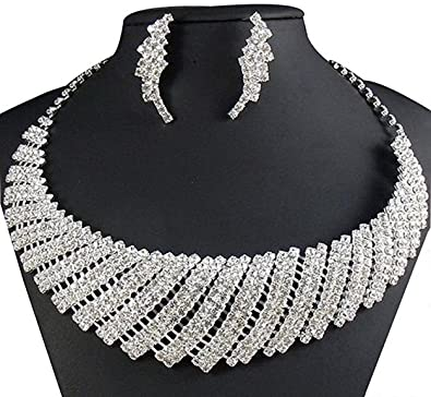 Amazon wedding necklace by taoqiao cubic zircon rhinestone wedding necklace by taoqiaocubic zircon rhinestone bridal necklace and earrings set junglespirit Images