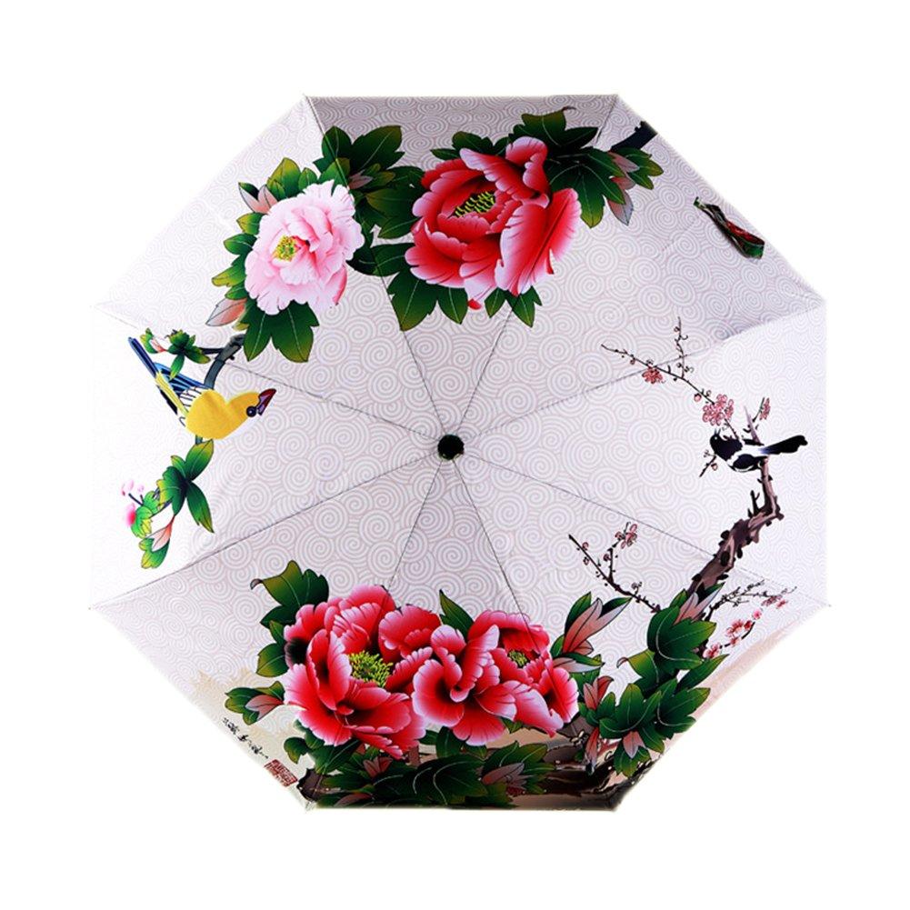 Estwell Folding Compact Outdoor Travel Umbrella Windproof UV Protection Sun Rain Umbrella with Art Print (Red Flower)