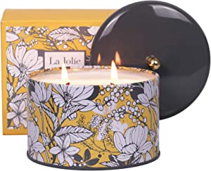 LA JOLIE MUSE Orange & Bergamot Scented Candle, 100% Natural Candle for Home, 50 Hours Long Burning, Tin, 14.1Oz