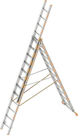 Layher escalera multiusos 1040012 (tema telescópica aluminio escalera 3-part 3 x 12 peldaños pasos plegable de doble cara longitud 8.35 M: Amazon.es: Bricolaje y herramientas