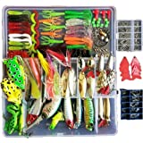 Topconcpt 275pcs Freshwater Fishing Lures Kit Fishing Tackle Box with Tackle Included Frog Lures Fishing Spoons…