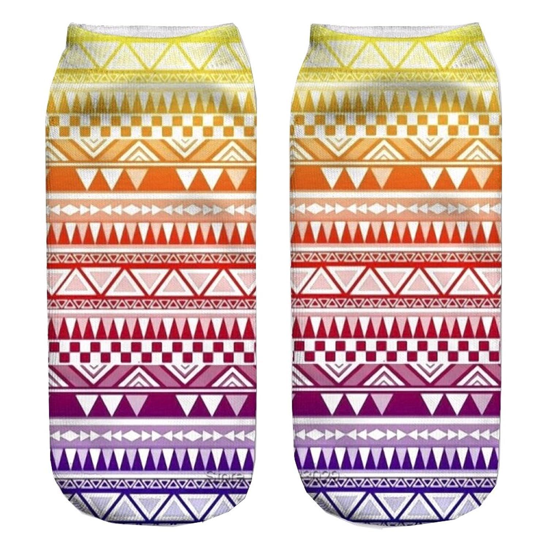 Aztec Rainbow 3D Sock Print Lovely Rat Polyester Contrast Color Women Socks