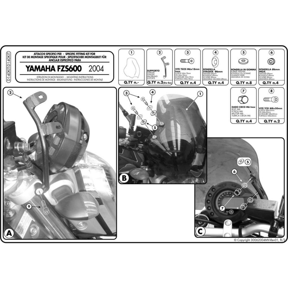 GIVI D140KIT Kit di attacchi specifico per 140D per YAMAHA FZ6 (04 / 06)