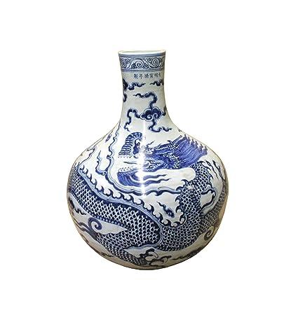 Amazon Chinese Porcelain Blue White Dragon Fat Body Shape Vase