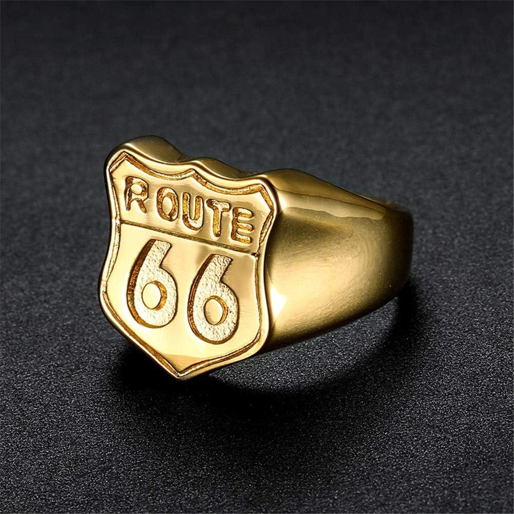 Or Argent Noir Vioness Chevali/ère Bague Homme Acier Inoxydable Signe Route 66 Grav/é Plaqu/é Bande Biker Bijoux