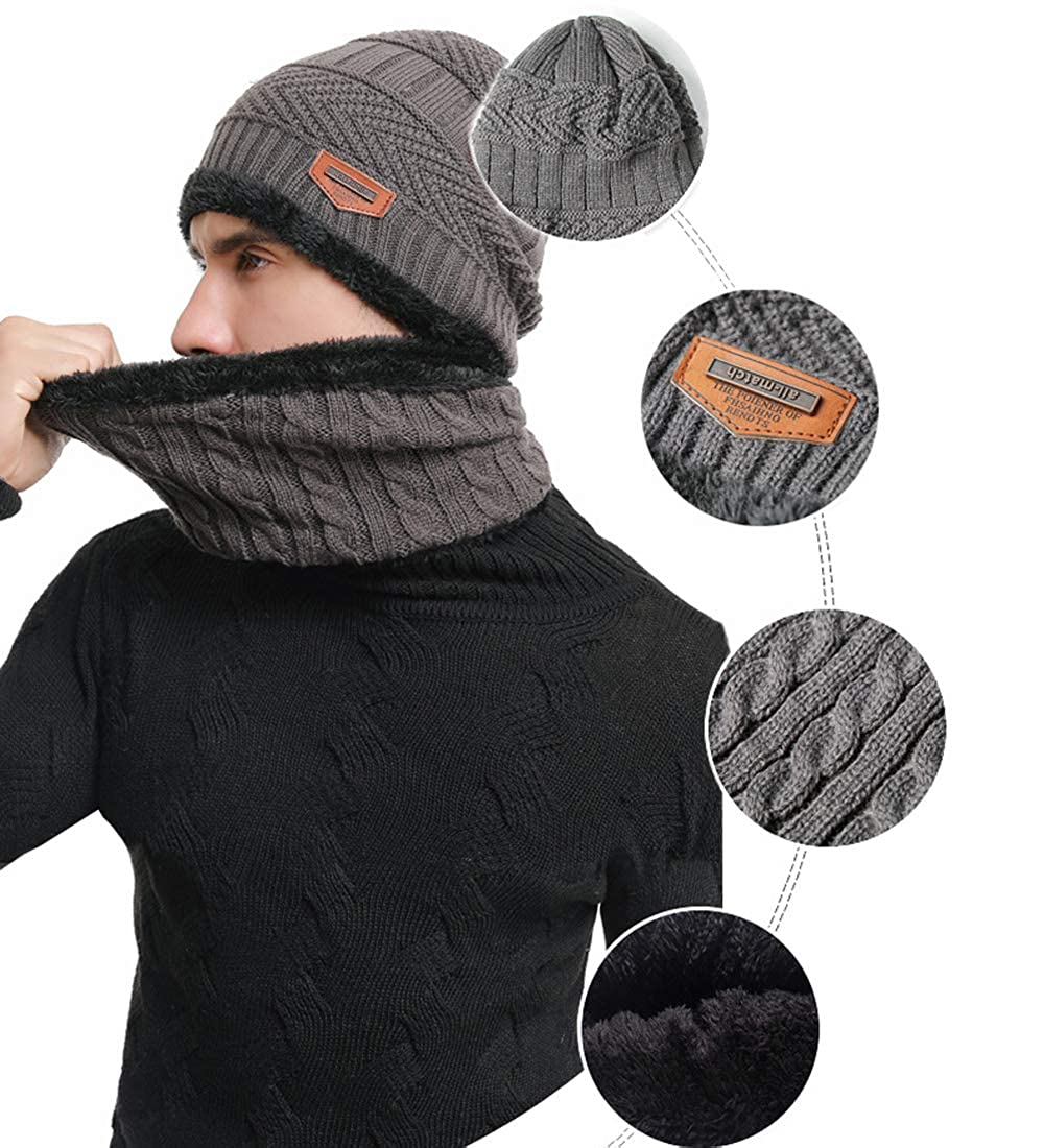 Thenice Mens Scarf Hat /& Glove Set One size
