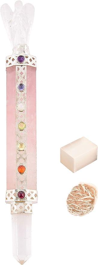 Pink Chakra Pencil Pendant Reiki Rose Quartz Stone Gemstone Spiritual Healing