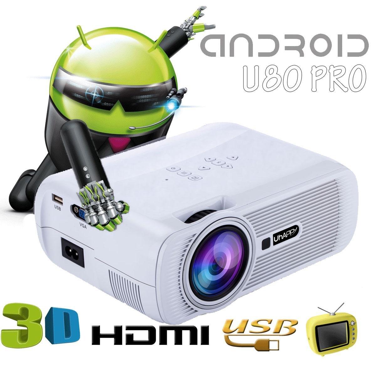 UHAPPY androide Mini Proyector inteligente WIFI Ampliar y reducir ...