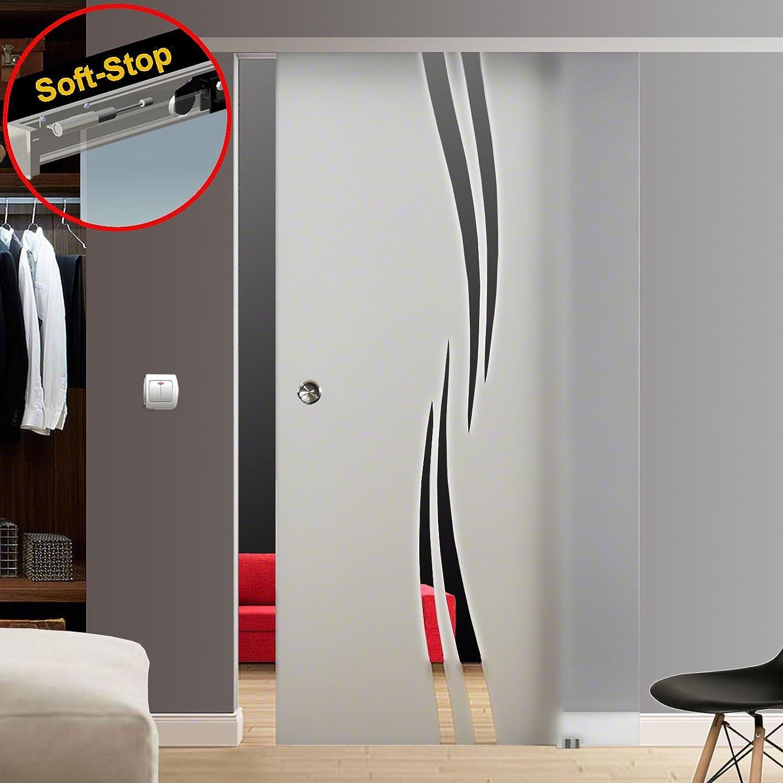 Puerta Corredera de Cristal, M2, parcialmente satinado/mate, con vertical Hundidas Diseño de Rayas, incluye sistema de puerta corredera de aluminio Slimline; auswählbares Bisagra Sistema Soft Stop o autocierre; con mango caracola; ancho