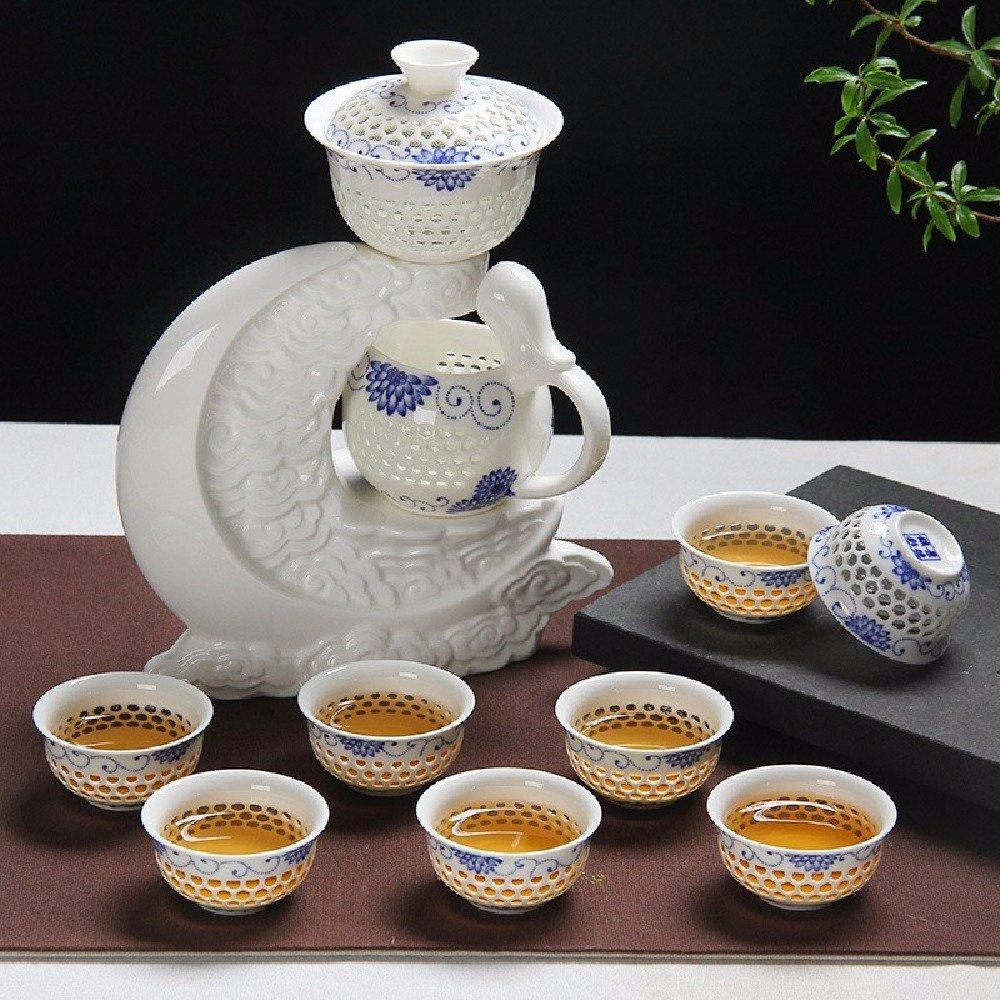 ssbyブルーandホワイトPorcelain Kung Fu Teaセット自動的にセラミック、絶妙な中空アウトTeaセット 6175422332559  C B01N4E57AM
