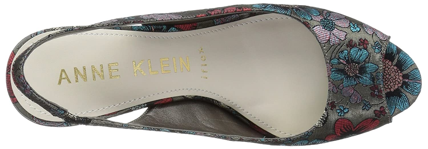 Anne Klein Women's Maurise Peep Toe Sling-Back Pump B07BL5VK15 5.5 M US Taupe/Turquoise/Red Fabric