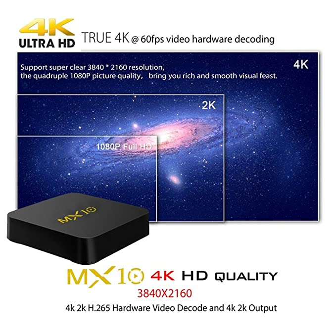 Amazon.com: DHong MX10 Android TV Box, Android 7.1 Streaming Media Player 4GB+32GB, RK3328 Quad Core 64Bit Smart TV Box 3D 4K HDR HLG Video Playing: ...