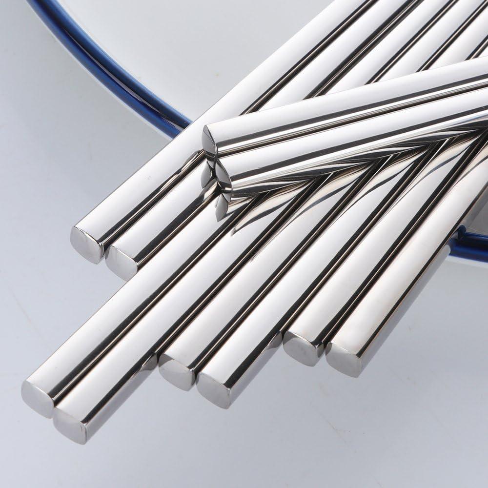 Bacchette Nero 5 Coppie di Bacchette Acciaio Inossidabile 304 18//10 Riutilizzabile Metallo Forma Quadrata per Sushi Cena Set da tavola