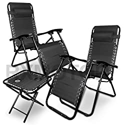 Rxmoto Zero Gravity Chairs - 3-Piece Set - With Side Table