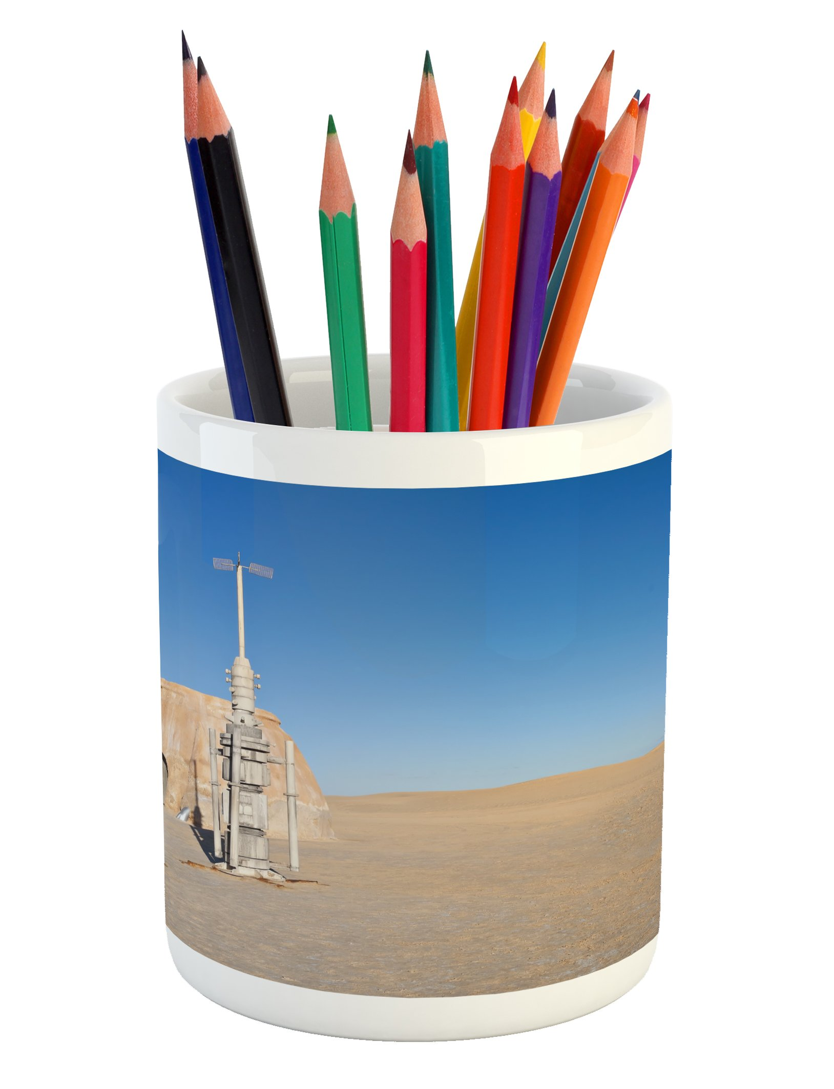 Ambesonne Galaxy Pencil Pen Holder, Illustration of Town of Famous Movie Set on the Planet Fantasy Outer Space Theme, Printed Ceramic Pencil Pen Holder for Desk Office Accessory, Brown Blue