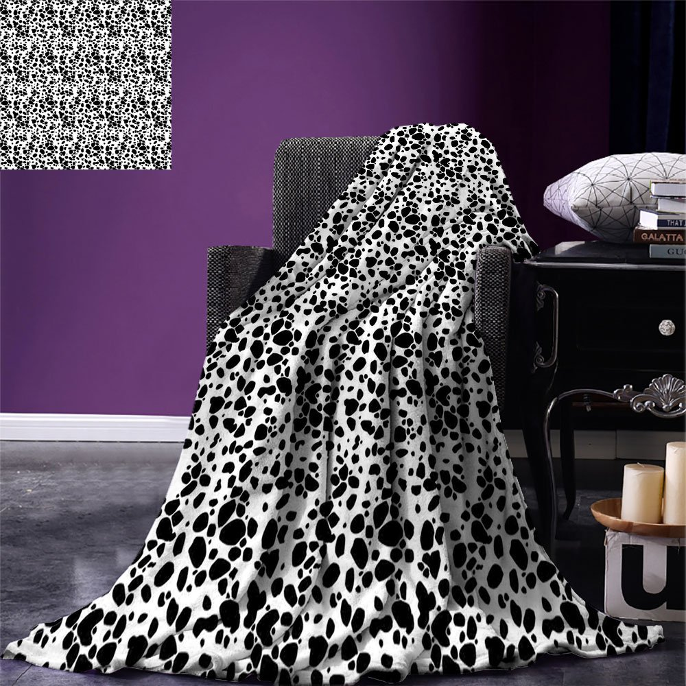 smallbeefly Dalmatian Dog Print Lightweight Blanket Black and White Puppy Spots Fur Pattern Fun Spotted Pets Animal Desing Digital Printing Blanket White Black