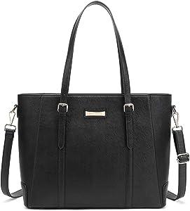 BUG Leather Tote Bag Large 15.6 Inches Laptop Tote Bag for Women Waterproof Shoulder Handbag Bag Travel Business Office Work Bag Classic Black
