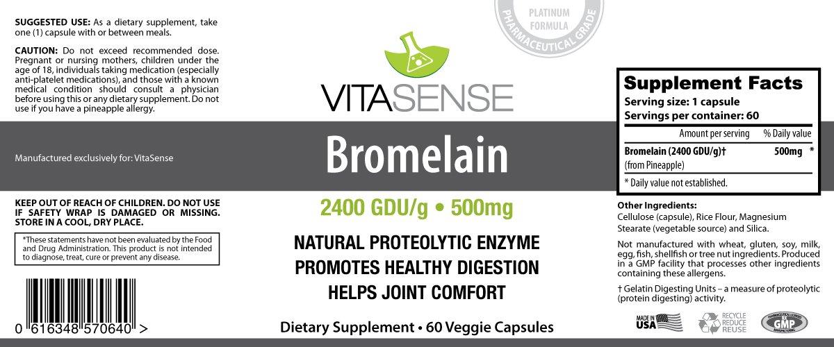 VitaSense Bromelina 2400 GDU 500 mg - Digestión MAX - 60 ...