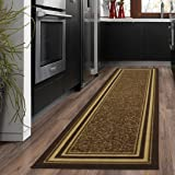 "Ottomanson Ottohome Collection Color Contemporary Bordered Design Runner Rug with Non-Skid (Non-Slip) Rubber Backing, 20"" x 59"", Brown"