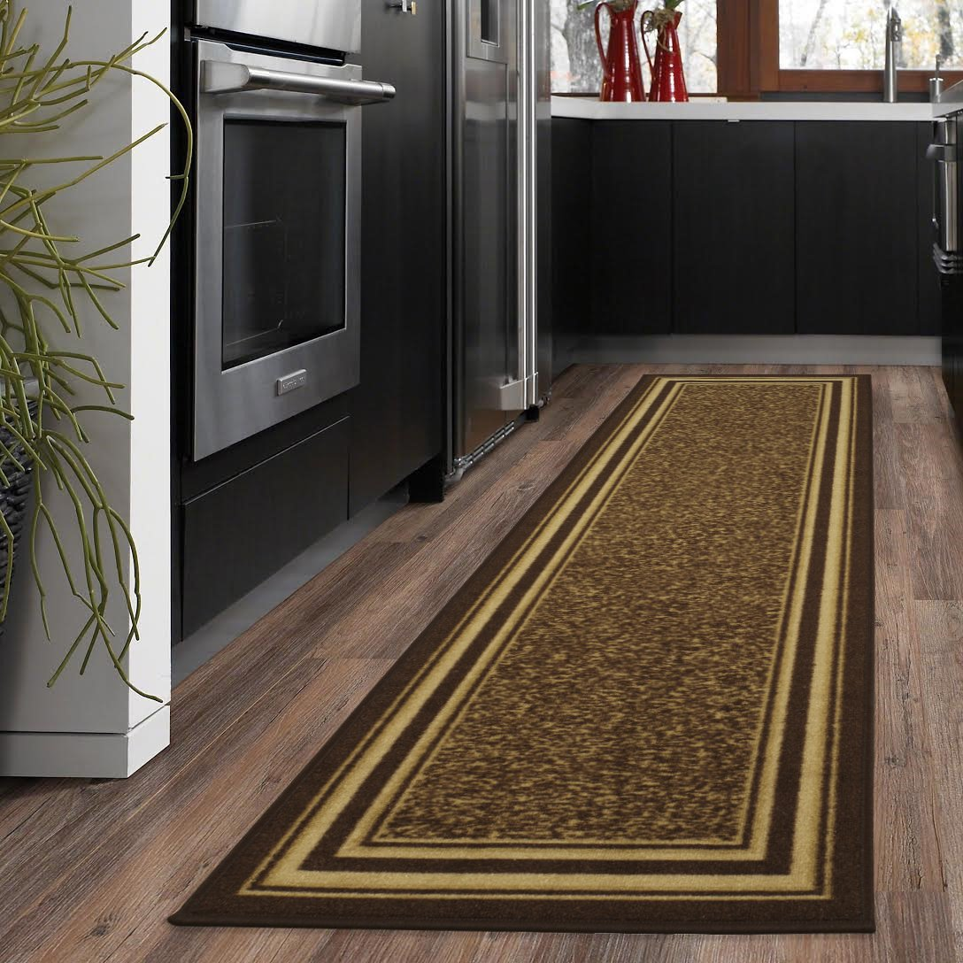 "Ottomanson Ottohome Collection Contemporary Bordered Design Non-Skid (Non-Slip) Rubber Backing Runner Rug, 20"" X 59"", Brown"